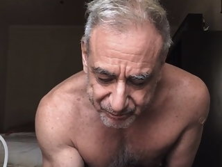 Sexy grandpa shoots his load